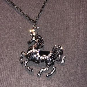 Long Silver Necklace with Unicorn Pendant